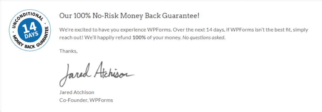 WPForms-14-days-money-back-guarantee