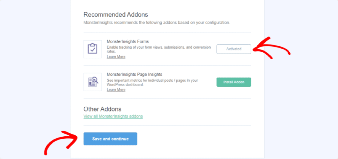 activate monsterinsights form addon