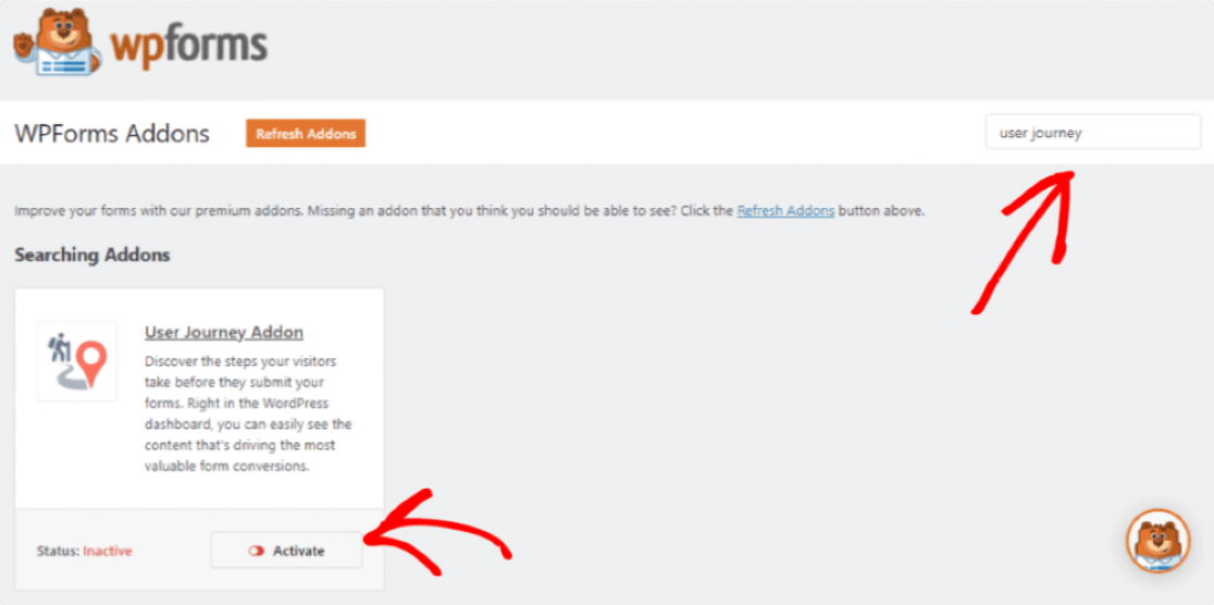 activate user journey addon