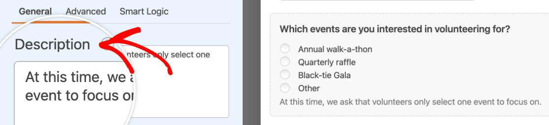 Adding a description to a Multiple Choice field