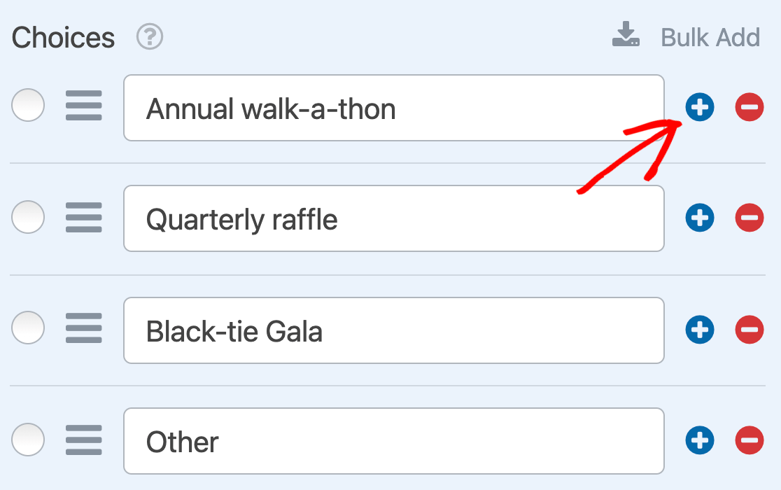 Adding a Multiple Choice item