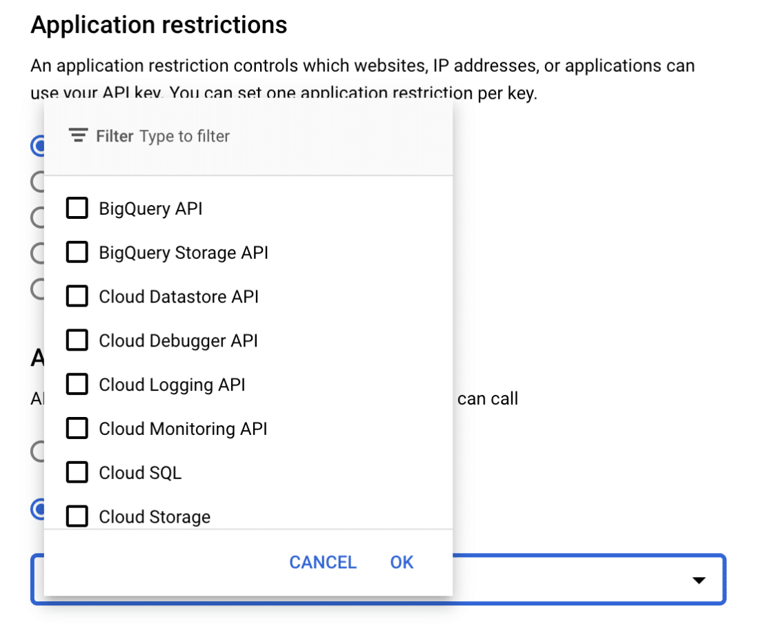 Applications restrictions dropdown