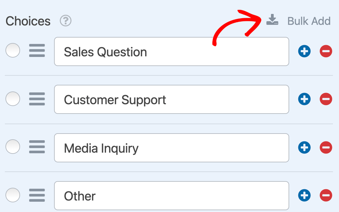 Opening the Bulk Add option for a Dropdown field