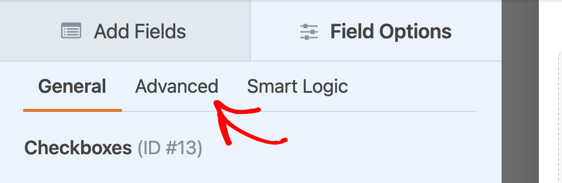 Accessing the advanced field options for a Checkboxes field