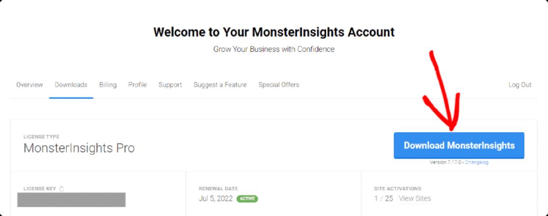 download monsterinsights zip file