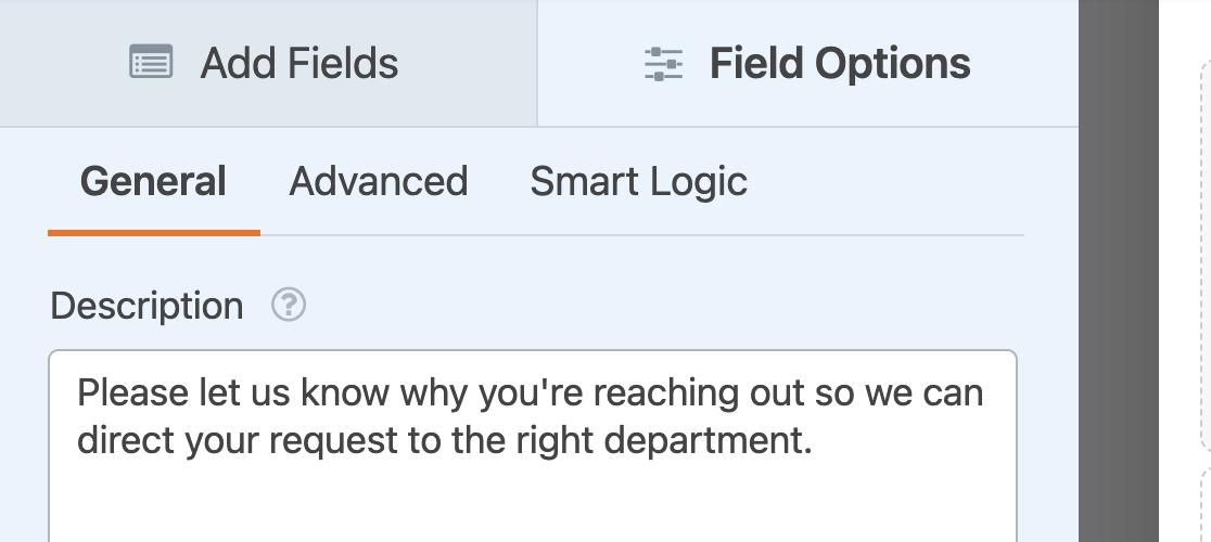 Adding a description to a Dropdown field