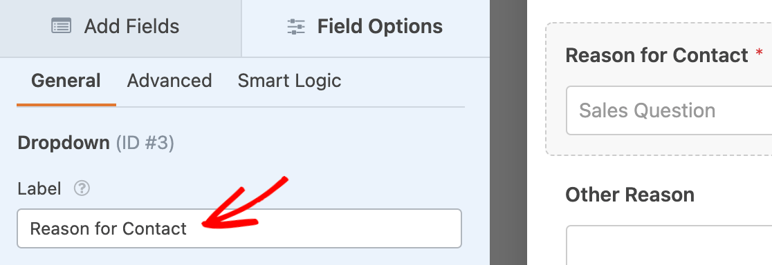 Editing a Dropdown field's label