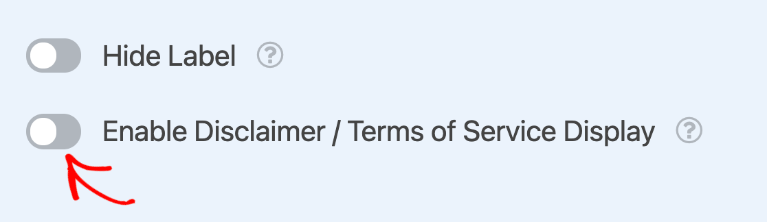 Enabling the Terms of Service option for a Checkboxes field
