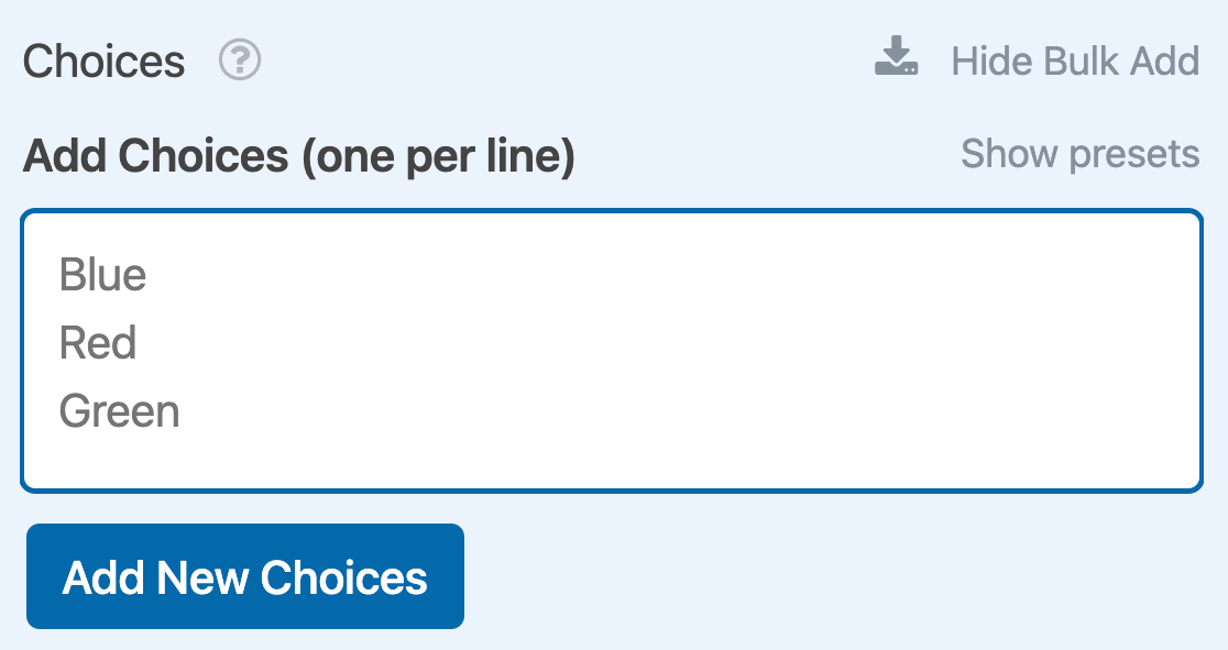 Bulk adding choices to a Checkboxes field
