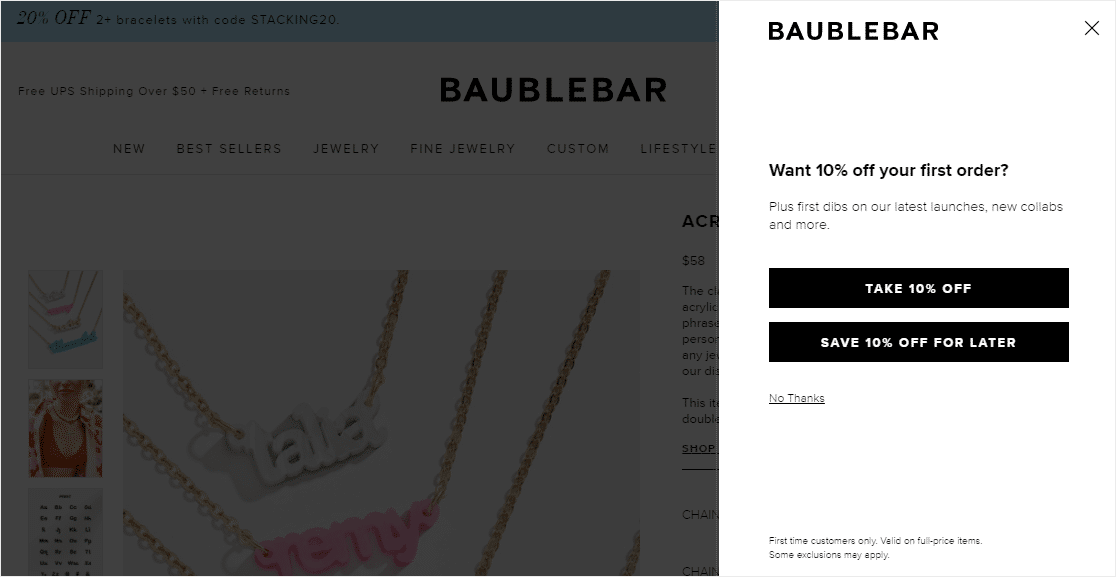 fullscreen lightbox with coupon email signup popup examples