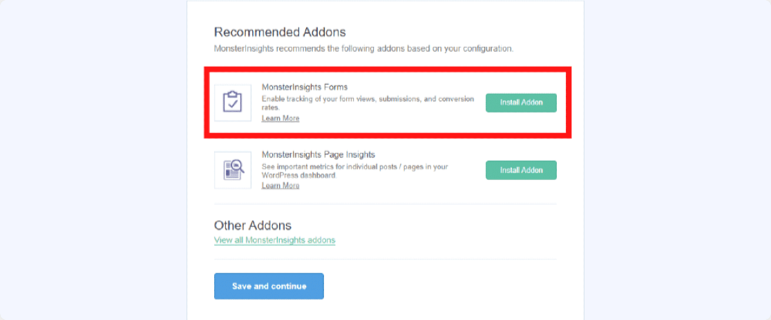 monsterinsights forms addon to track form conversions