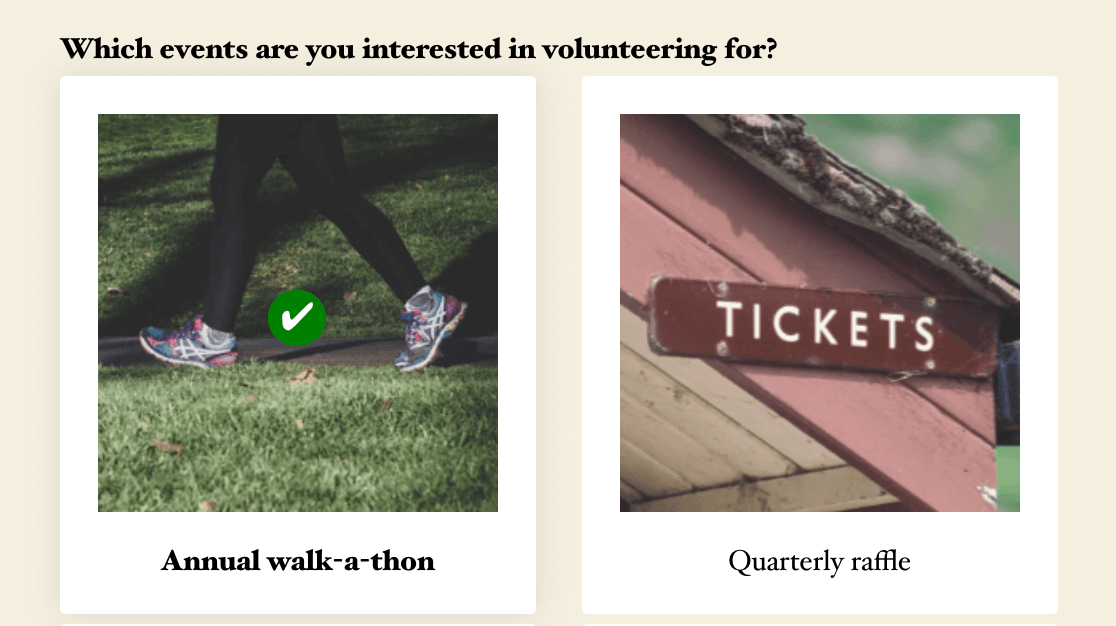 A Modern Multiple Choice image choice with a selected item