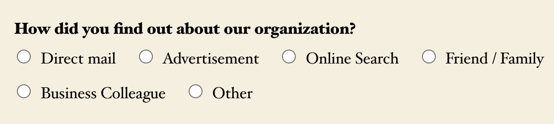 A Multiple Choice field with an inline choice layout