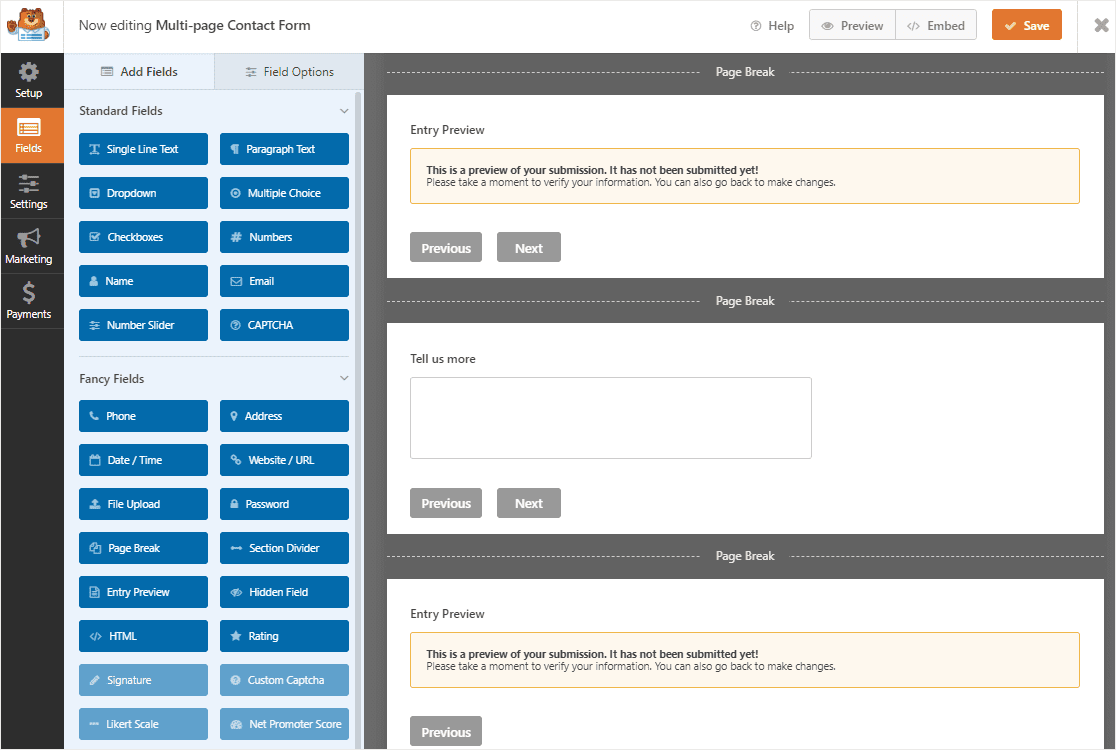 multiple entry preview fields