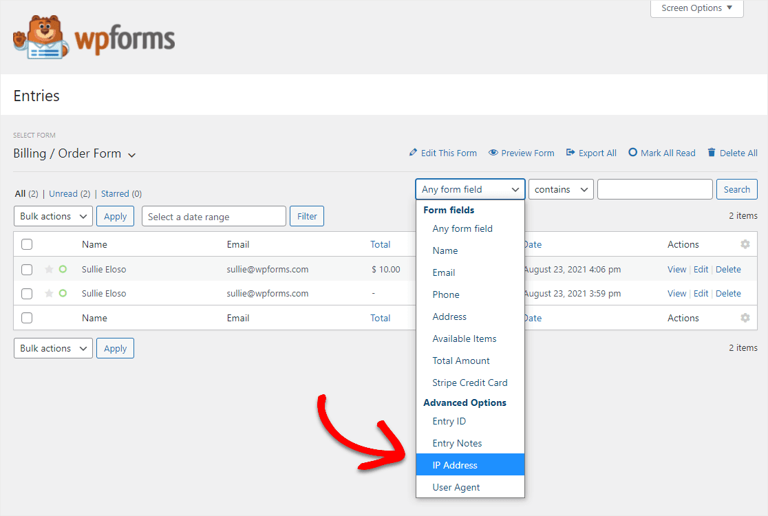 new entry fields to search