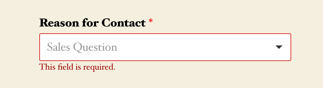 An example of a required field validation message