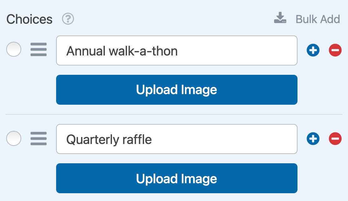 The Upload Image buttons for Multiple Choice image choices