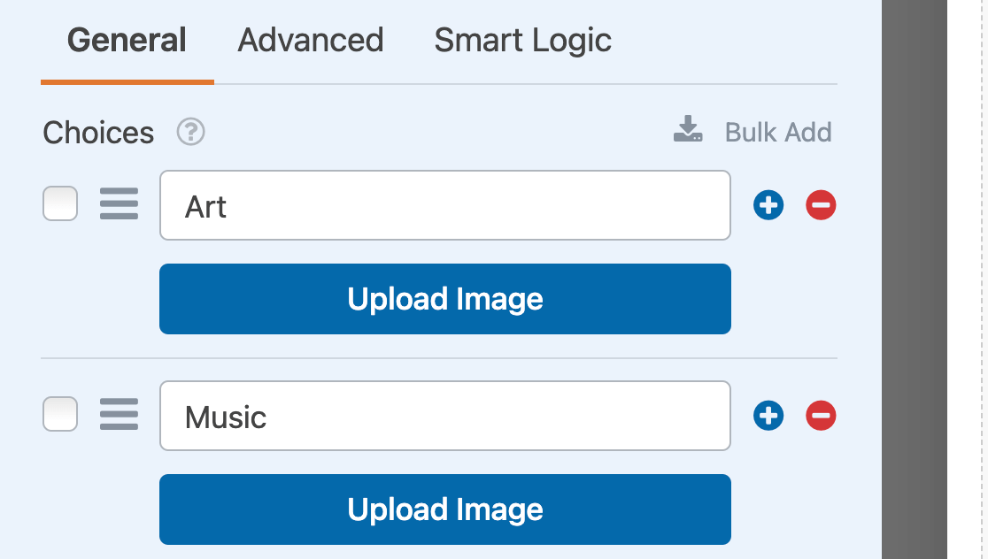 The Upload Image buttons for a Checkboxes image choices