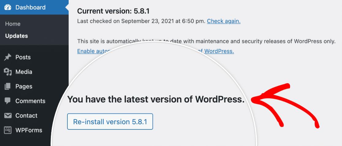 Latest version of WordPress