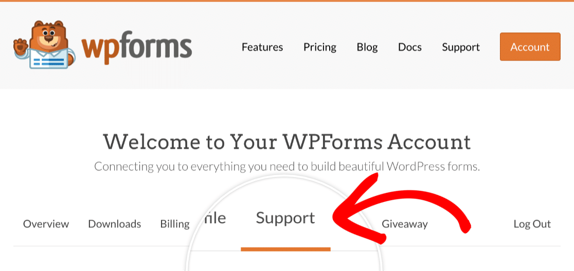 Support Tab in WPForms Account