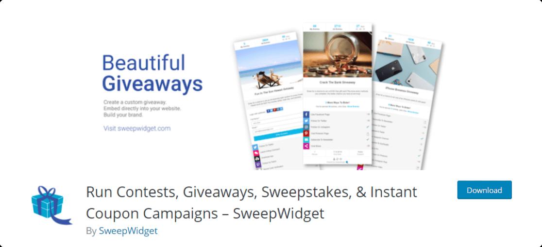SweepWidget: Best free giveaway plugin for WordPress