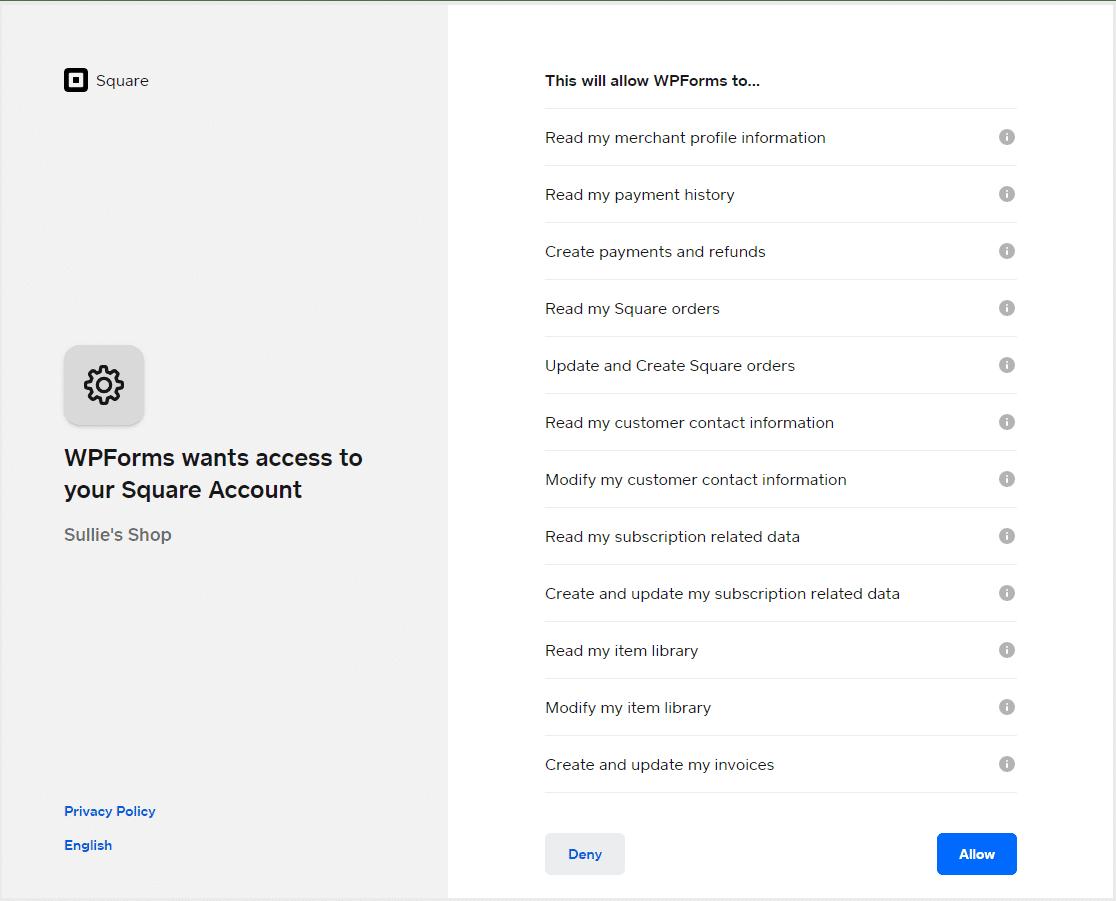 WPForms Access Square Account
