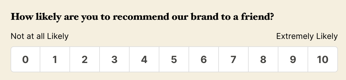 An example of a Net Promoter Score field on the frontend