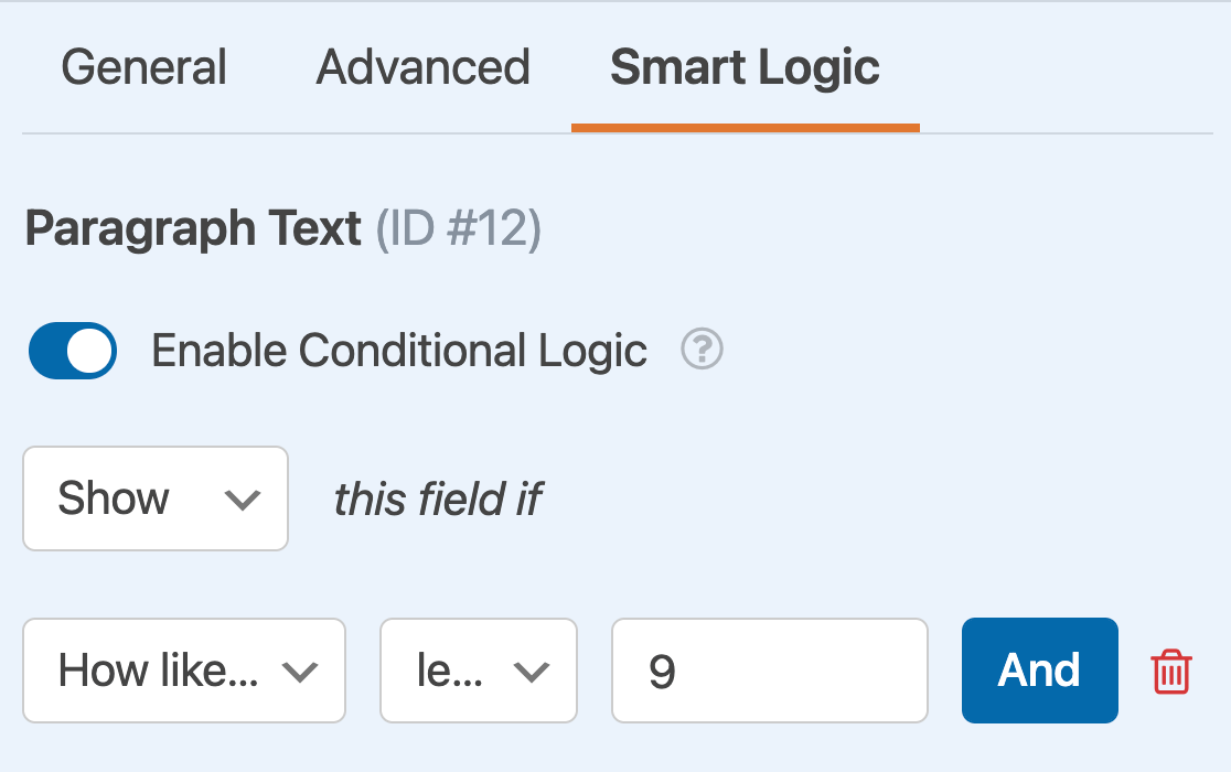 Setting up a conditional logic rule to show a Paragraph Text field based on the user's NPS rating