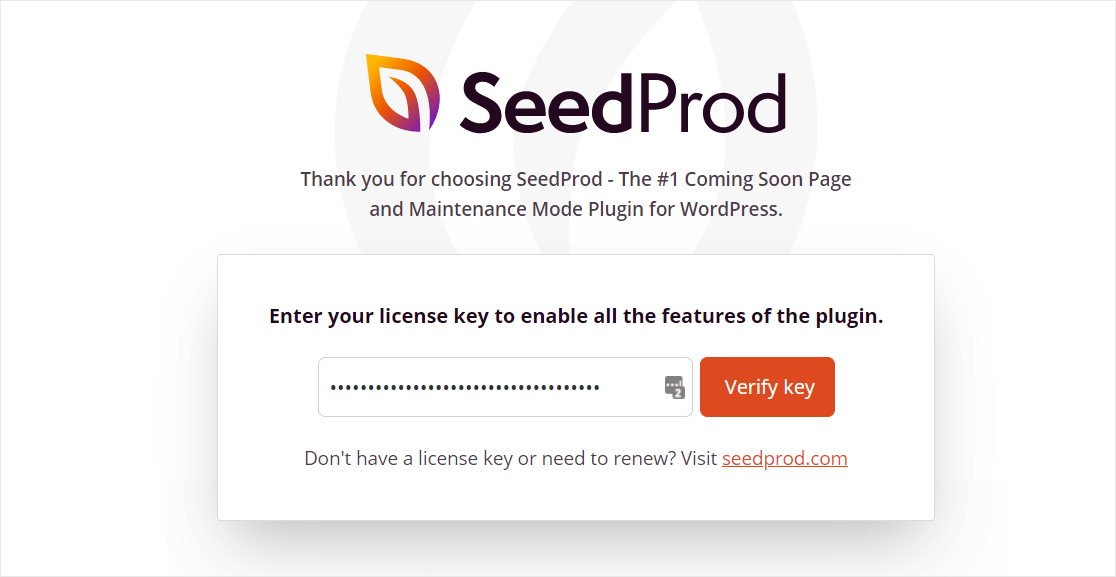 seedprod activating key to create thank you page