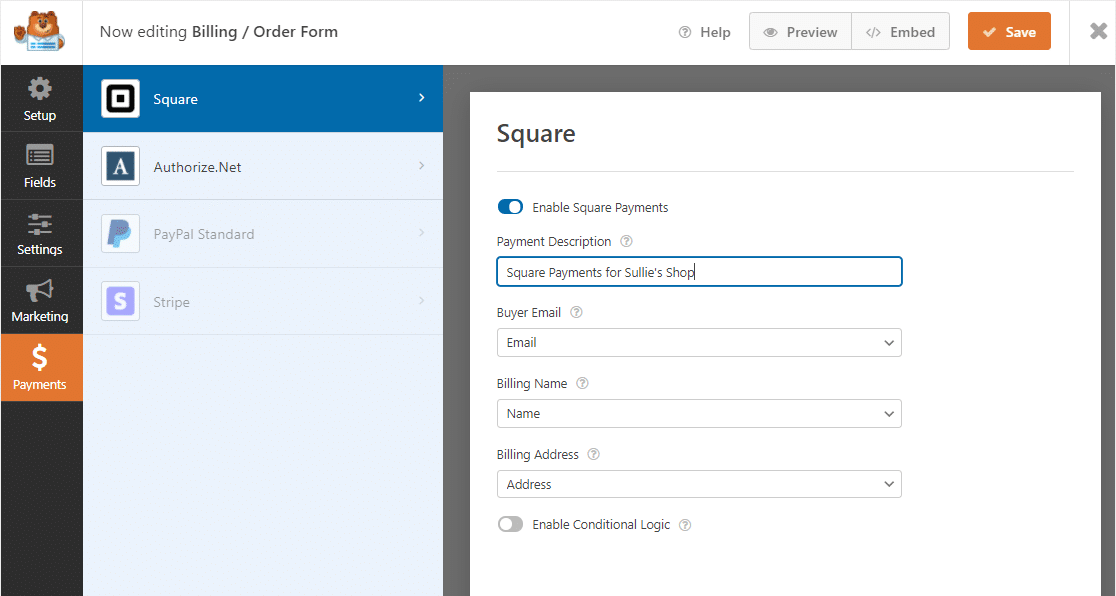 square mapping settings
