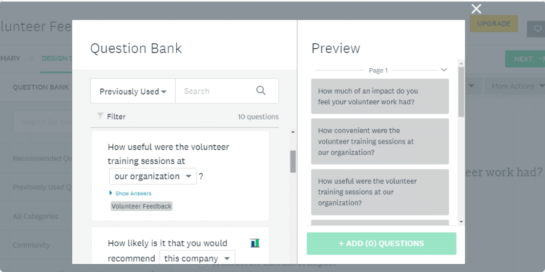 surveymonkey vs mailchimp: surveymonkey-question-bank