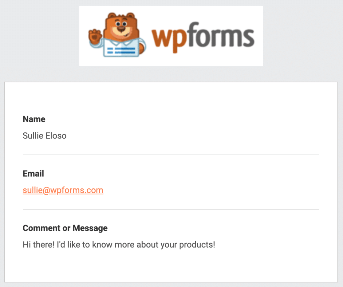 Email notification example