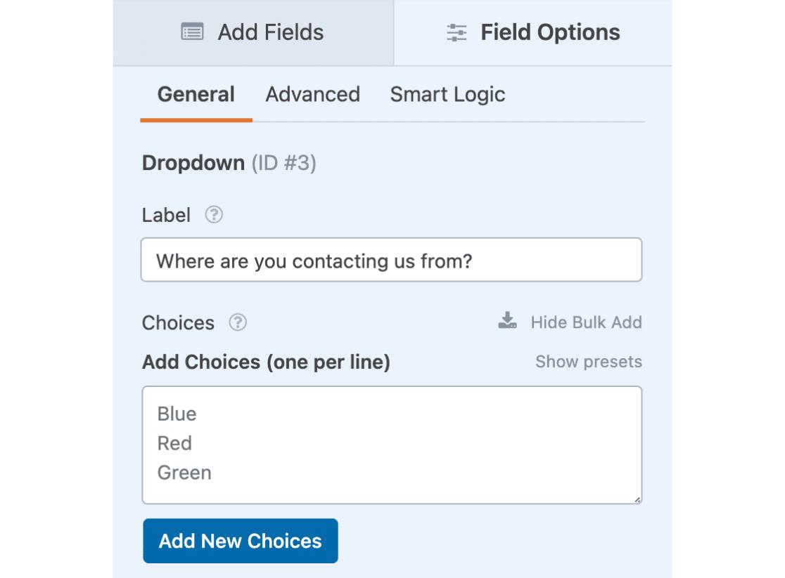 Bulk add choices input field