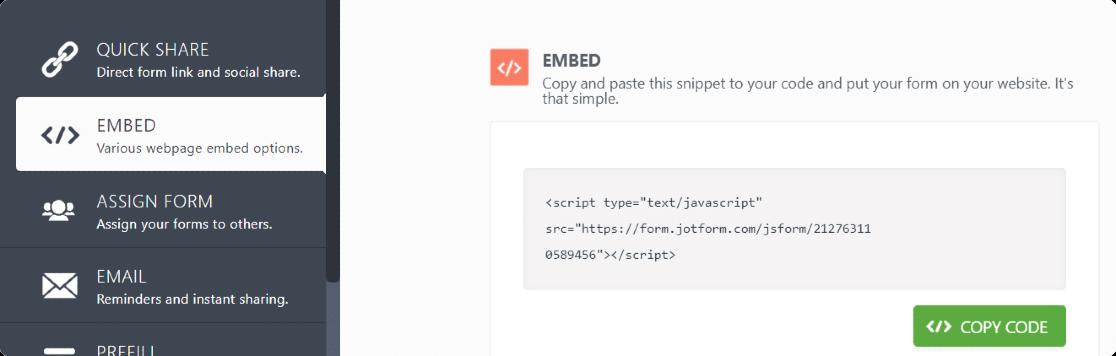 jotform embedding options