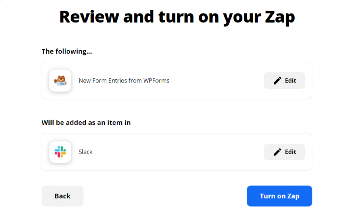 review-zap to get slack notifications from wordpress forms