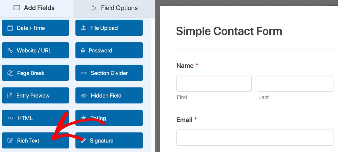 Rich text field in form builder