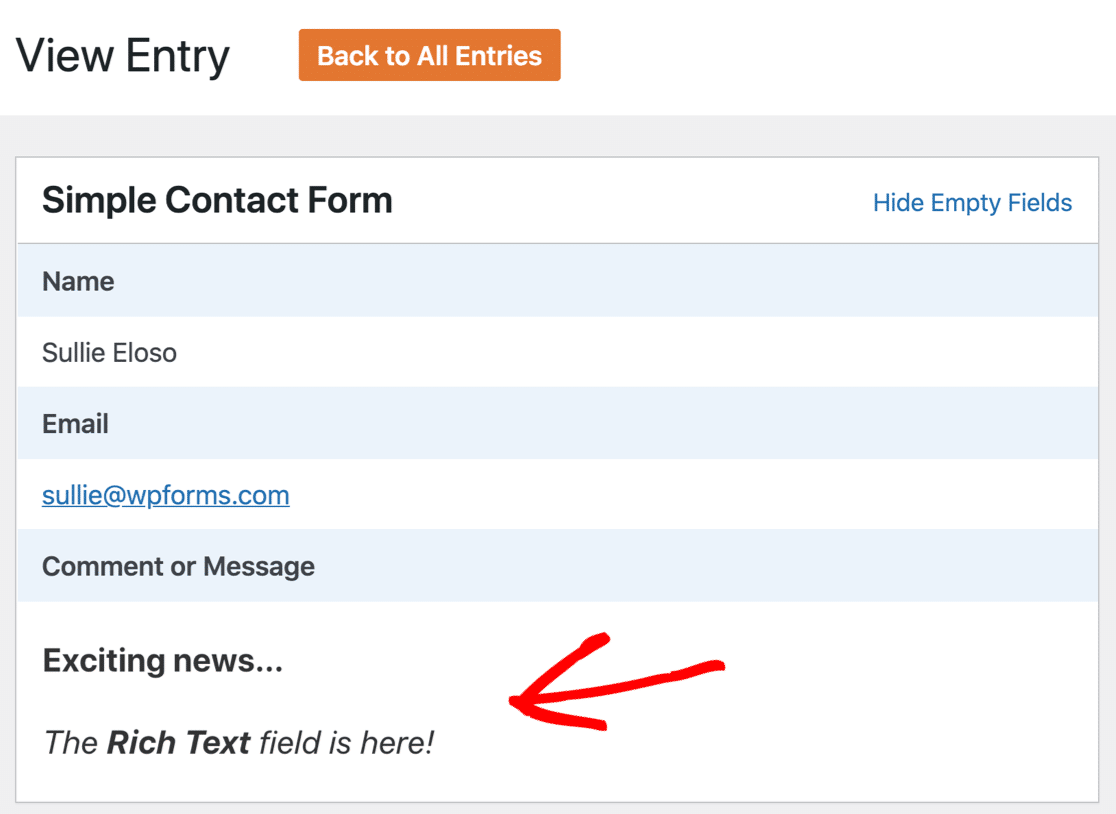 Rich text form entry