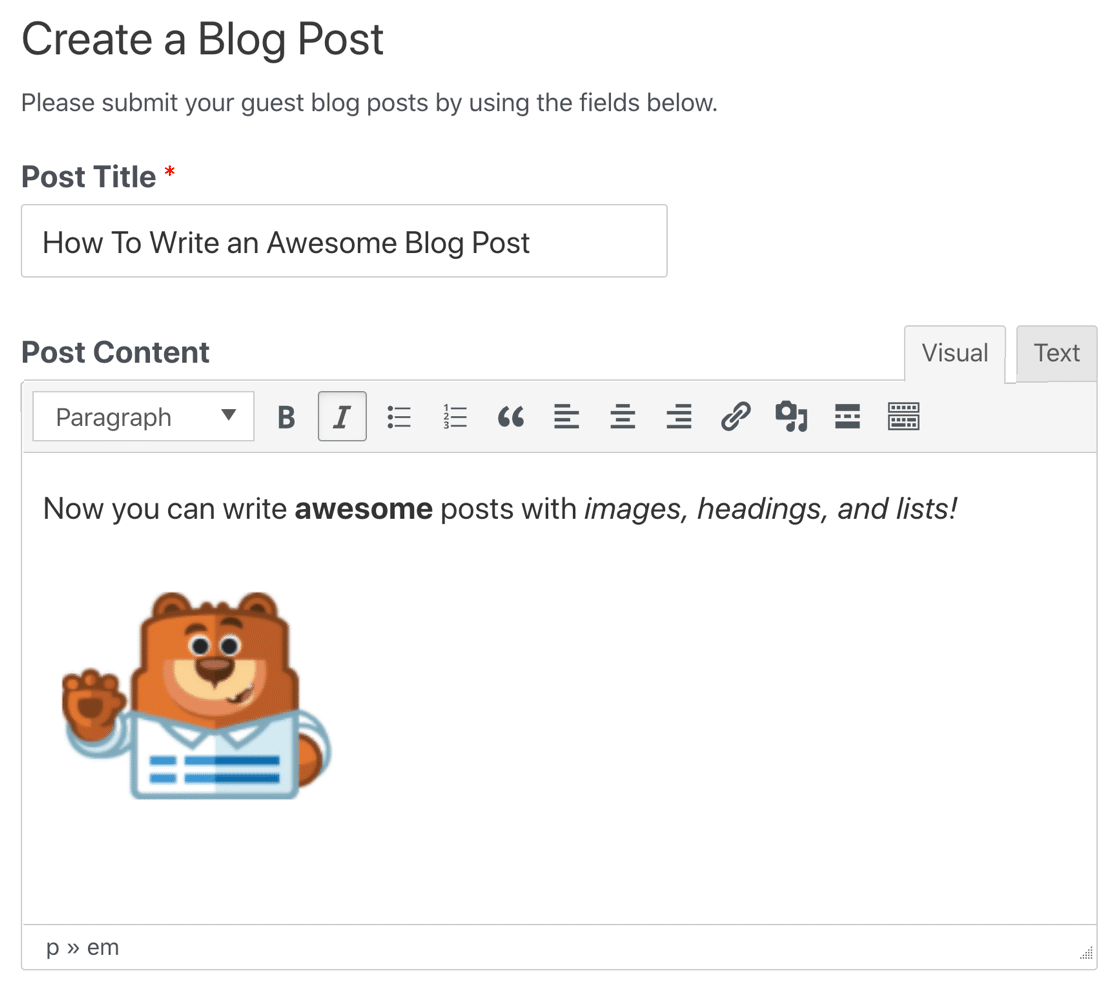 Rich text editor for post submissions