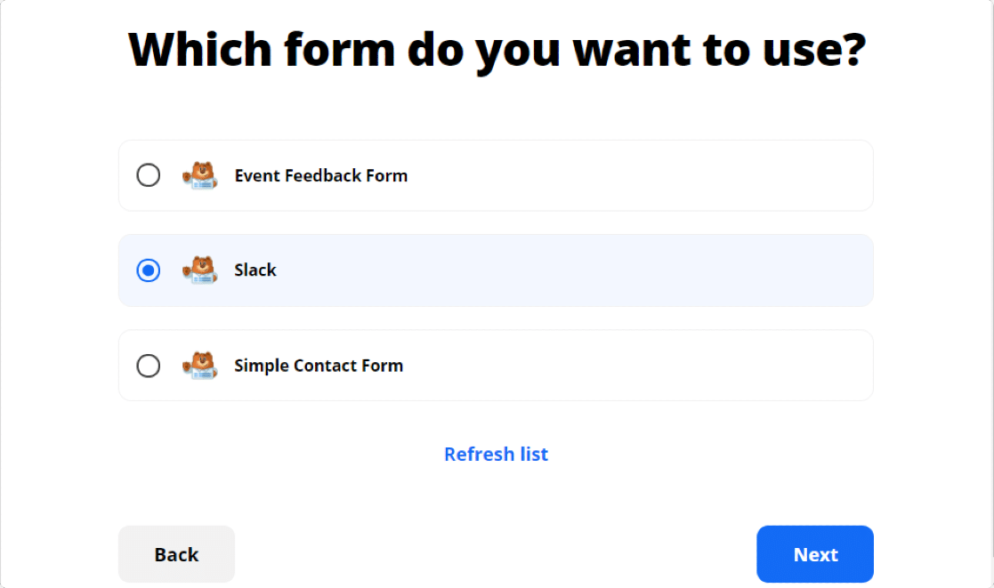 select your form