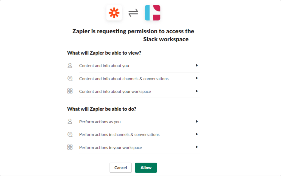 allow zapier to access slack