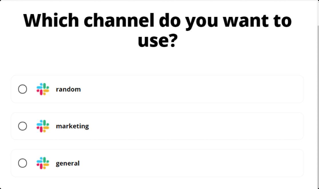 select your slack channel