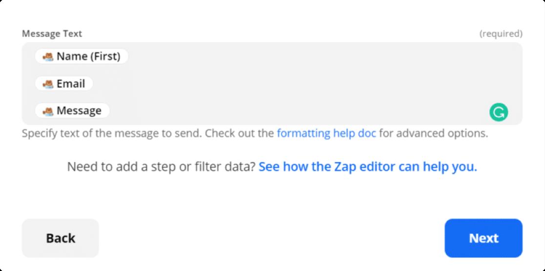 customize message text field