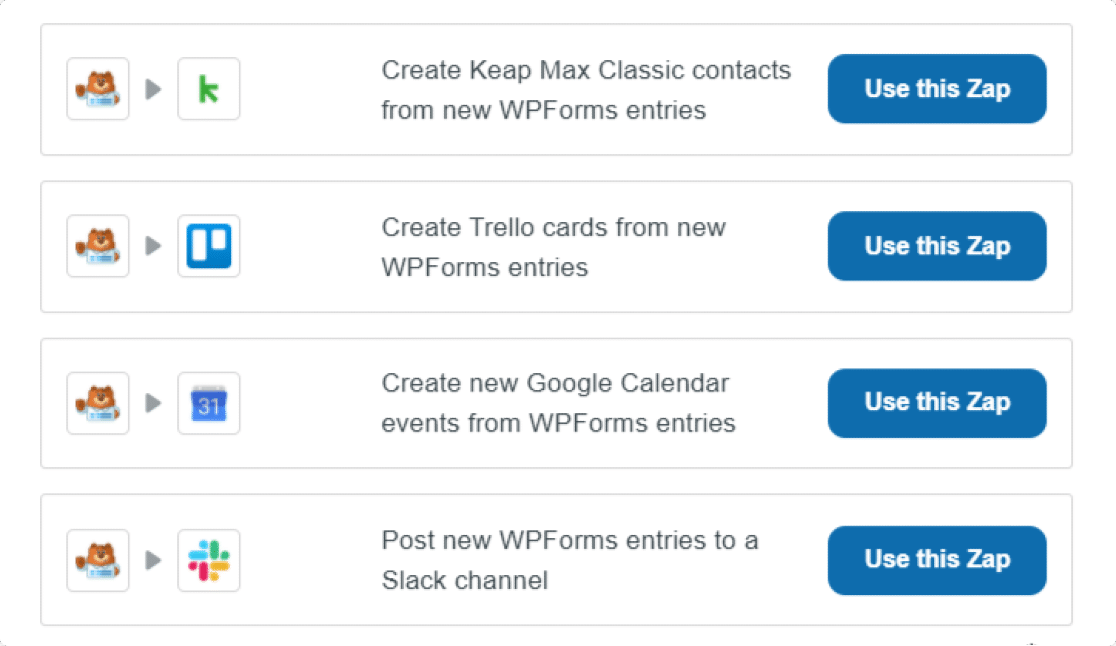 apps supported by zapier integration of wpforms