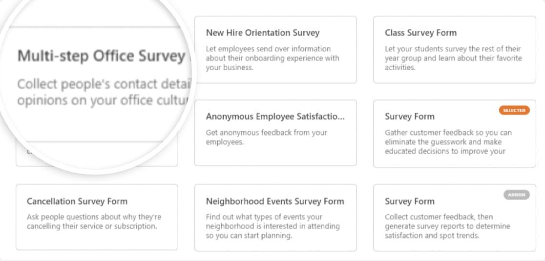 survey form templates