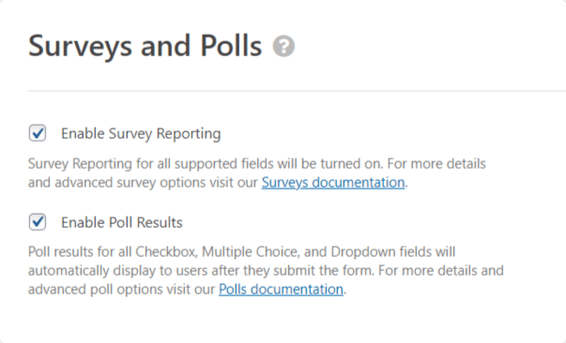 survey reporting feature of wpforms