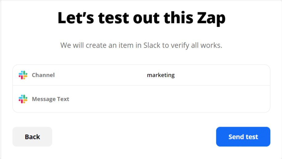 test-zap to get slack notifications from wordpress forms
