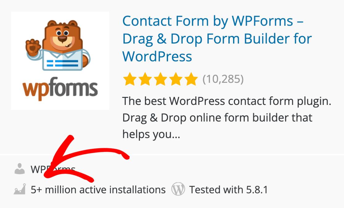 WPForms 5 million active installations