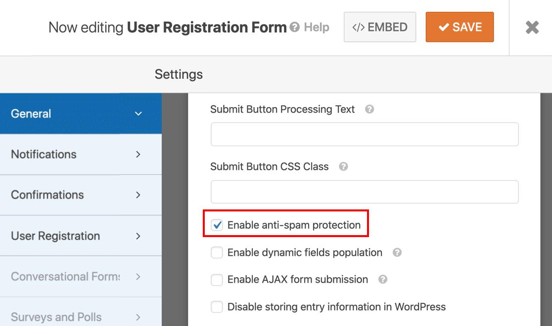 Anti-spam user registration form