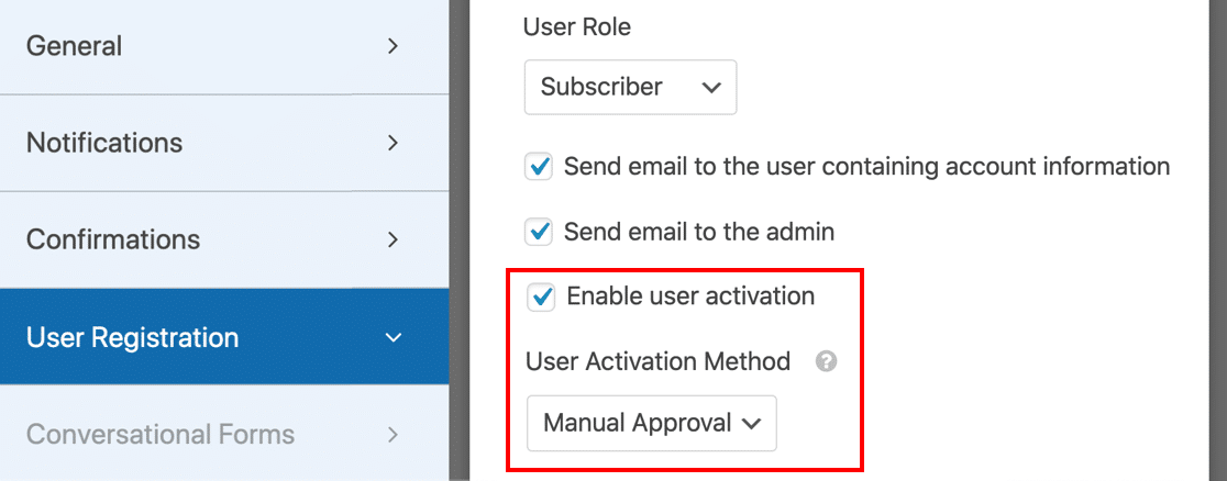 Turn on user approval to stop spam registrations in WordPress