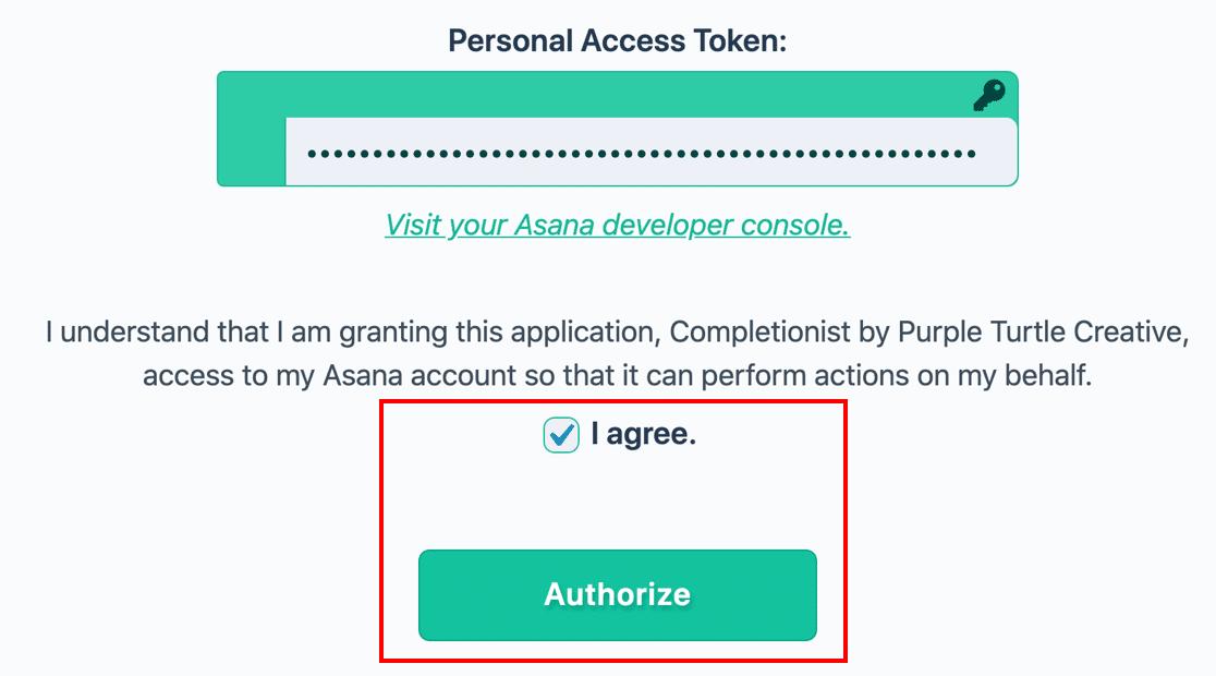 Personal Access Token from Asana in WordPress